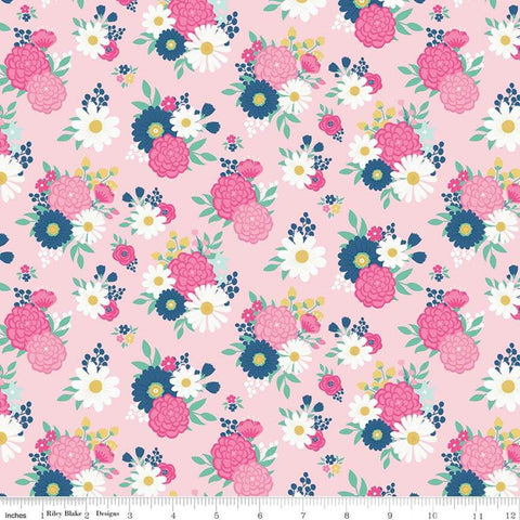 SALE I'd Rather Be Glamping Bouquets Pink - Riley Blake Designs - Camping Floral Flowers  - Quilting Cotton Fabric