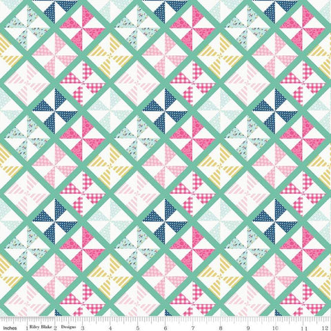 I'd Rather Be Glamping Pinwheels Mint - Riley Blake Designs - Camping Green Diagnoal Blocks - Quilting Cotton Fabric