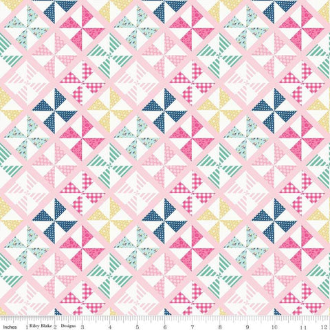 I'd Rather Be Glamping Pinwheels Pink - Riley Blake Designs - Camping Cream Diagnoal Blocks - Quilting Cotton Fabric