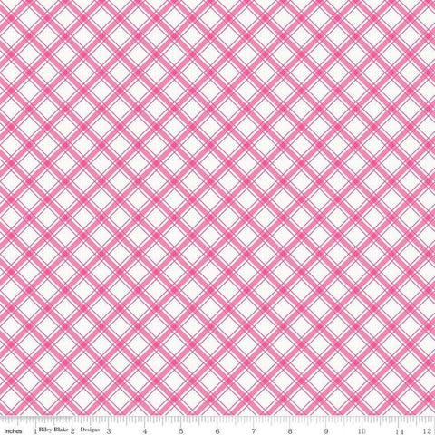 I'd Rather Be Glamping Plaid Hot Pink - Riley Blake Designs - Camping Diagnoal Pink on Cream - Quilting Cotton Fabric