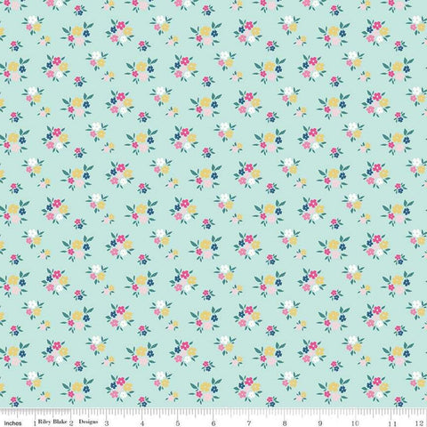 I'd Rather Be Glamping Floral Light Mint - Riley Blake Designs - Green Camping Small Flowers - Quilting Cotton Fabric