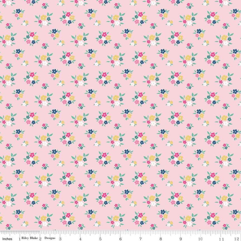 I'd Rather Be Glamping Floral Pink - Riley Blake Designs - Camping Small Flowers - Quilting Cotton Fabric
