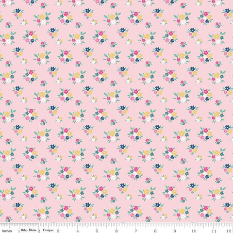 SALE I'd Rather Be Glamping Floral Pink - Riley Blake Designs - Camping Small Flowers - Quilting Cotton Fabric