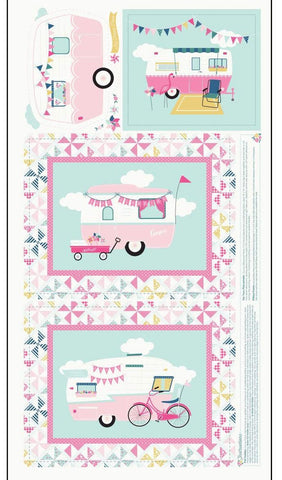 "I'd Rather Be Glamping Panel Pink by Riley Blake Designs - 24"" x 43"" Camping Trailers Pinwheels Cream - Quilting Cotton Fabric"