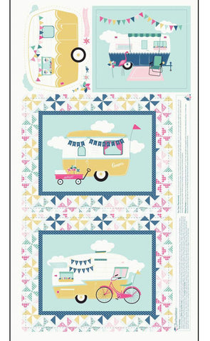 "I'd Rather Be Glamping Panel Blue by Riley Blake Designs - 24"" x 43"" Camping Trailers Pinwheels Cream - Quilting Cotton Fabric"