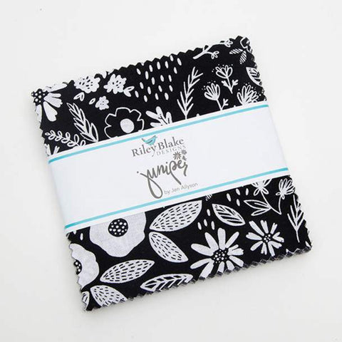 "Juniper Charm Pack 5"" Stacker Bundle - Riley Blake Designs - 42 piece Precut Pre cut - Gunmetal SPARKLE - Quilting Cotton Fabric"