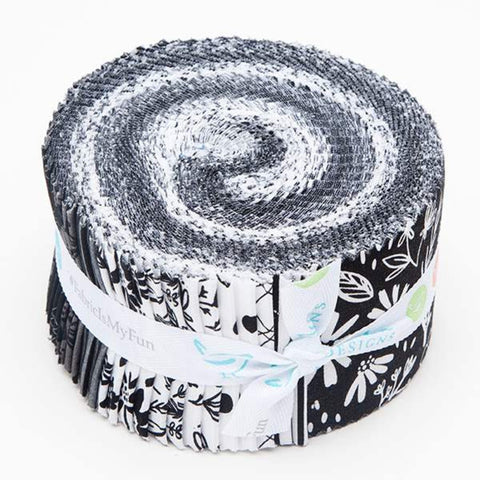 Juniper 2.5-Inch Rolie Polie Jelly Roll 40 pieces Riley Blake Designs - Precut Bundle - Gunmetal SPARKLE - Quilting Cotton Fabric
