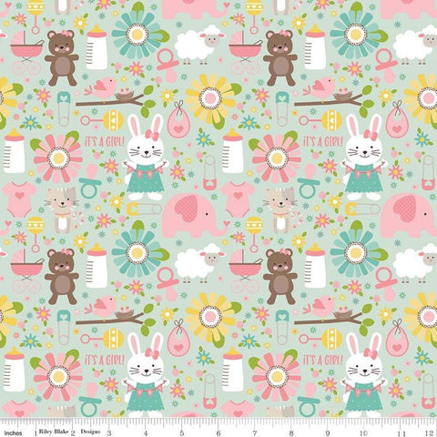 SALE Sweet Baby Girl Main Mint - Riley Blake Designs - Green Bunnies Bears Elephants Sheep Bibs - Quilting Cotton Fabric - choose your cut