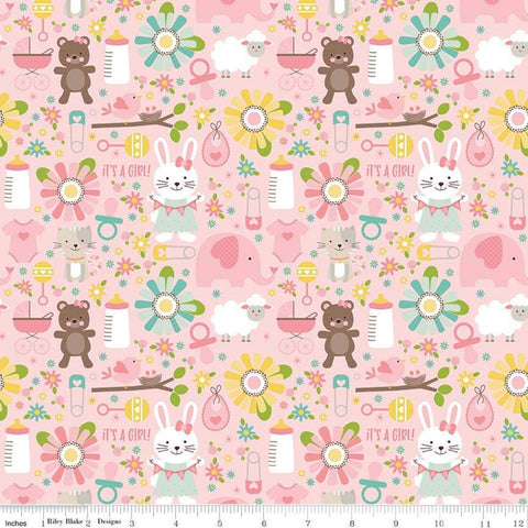 SALE Sweet Baby Girl Main Pink - Riley Blake Designs - Bunnies Bears Elephants Sheep Bibs Bottles - Quilting Cotton Fabric - choose your cut