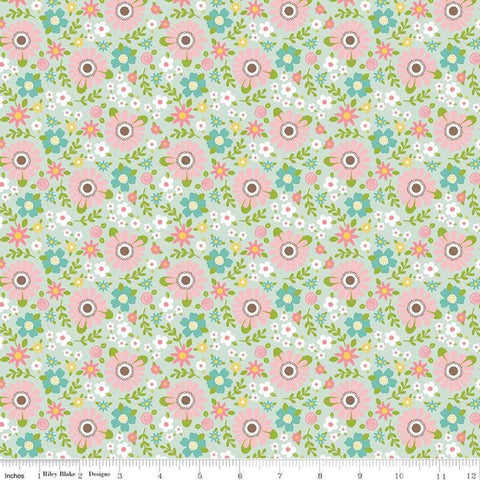 Sweet Baby Girl Garden Mint - Riley Blake Designs - Green Pink Floral Flowers - Quilting Cotton Fabric - choose your cut