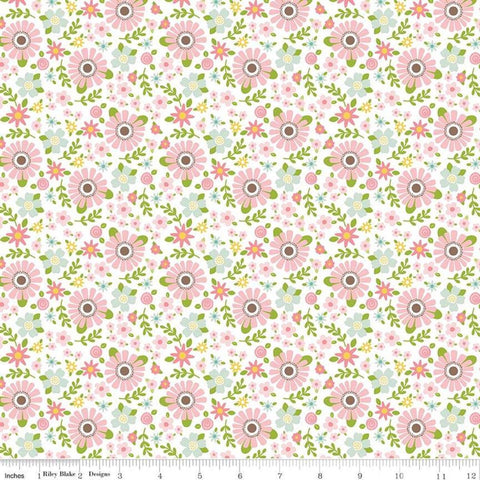 Sweet Baby Girl Garden White - Riley Blake Designs - White Pink Floral Flowers - Quilting Cotton Fabric