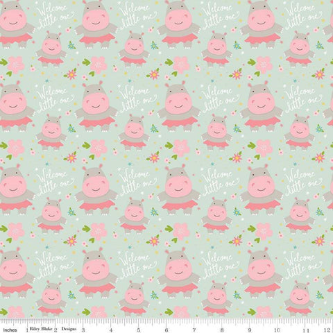 SALE Sweet Baby Girl Hippos Mint - Riley Blake Designs - Green Pink Hippopotamus - Quilting Cotton Fabric - choose your cut