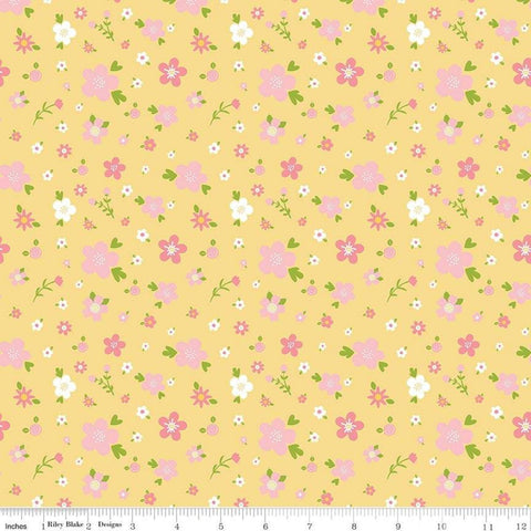 Sweet Baby Girl Flowers Yellow - Riley Blake Designs - Pink White Green Floral on Yellow - Quilting Cotton Fabric - choose your cut