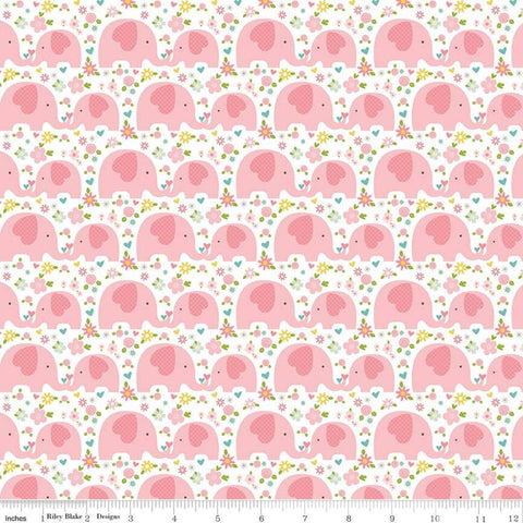 Sweet Baby Girl Elephants Pink - Riley Blake Designs - Floral Flowers - Quilting Cotton Fabric - choose your cut