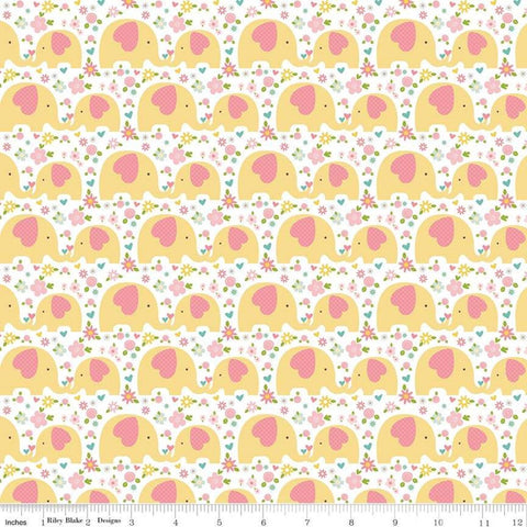 Sweet Baby Girl Elephants Yellow - Riley Blake Designs - Floral Flowers - Quilting Cotton Fabric - choose your cut