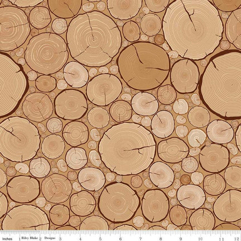 Gone Camping Logs Tan - Riley Blake Designs - Outdoors Sawn Cut Wood - Quilting Cotton Fabric