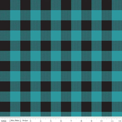 Gone Camping Plaid Teal - Riley Blake Designs - Outdoors Black Gray Blue Green - Quilting Cotton Fabric