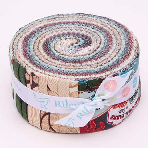 Gone Camping 2.5-Inch Rolie Polie Jelly Roll 40 pieces Riley Blake Designs - Precut Bundle - Outdoors - Quilting Cotton Fabric