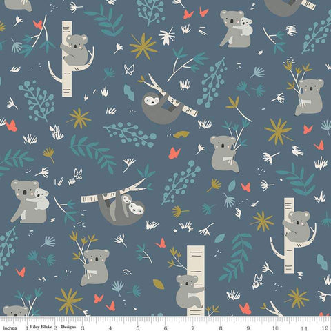 Joey Main Blue - Riley Blake Designs - Australia Koalas Sloths - Quilting Cotton Fabric