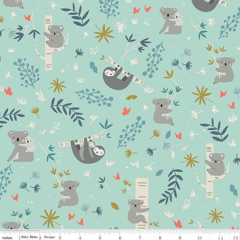 Joey Main Mint - Riley Blake Designs - Australia Koalas Sloths Green - Quilting Cotton Fabric - choose your cut