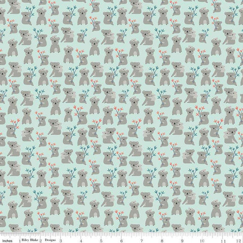 Joey Koalas Mint - Riley Blake Designs - Australia Green - Quilting Cotton Fabric