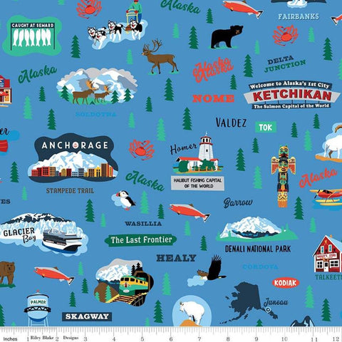 Northwest Alaska Main Blue - Riley Blake Designs - Alaskan Towns Landmarks - Quilting Cotton Fabric