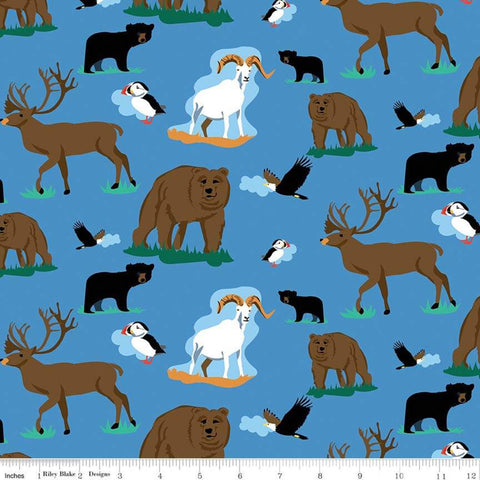 Northwest Wildlife Blue - Riley Blake Designs - Alaska Washington Bears Deer Goats Birds - Quilting Cotton Fabric