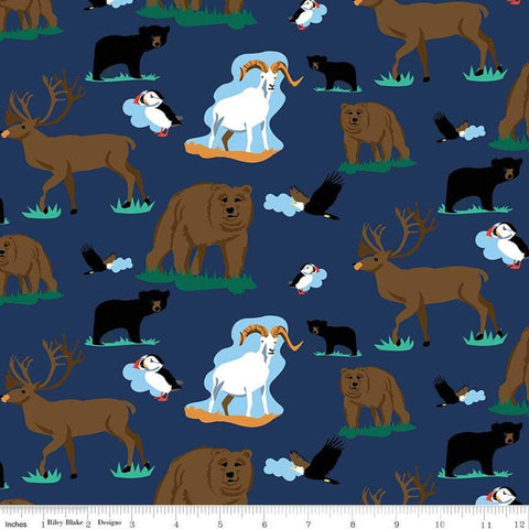 Northwest Wildlife Navy - Riley Blake Designs - Blue Alaska Washington Bears Deer Goats  - Quilting Cotton Fabric