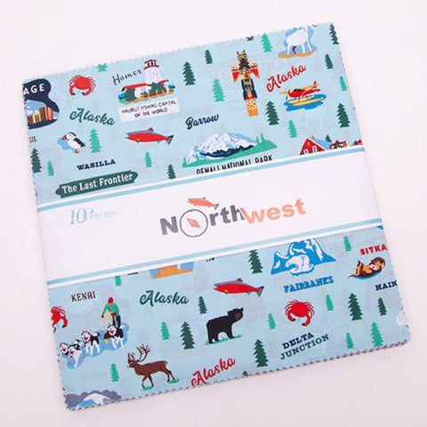 "SALE Northwest Alaska Layer Cake 10"" Stacker Bundle - Riley Blake Designs - 42 piece Precut Pre cut - Outdoors - Quilting Cotton Fabric"