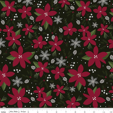 SALE Winterberry Main Black - Riley Blake Designs - Poinsettias Pinecones  Snowflakes Christmas - Quilting Cotton Fabric