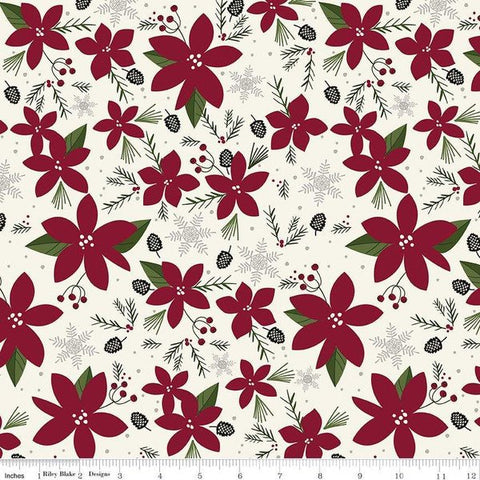 SALE Winterberry Main Cream - Riley Blake Designs - Poinsettias Pinecones  Snowflakes Christmas - Quilting Cotton Fabric