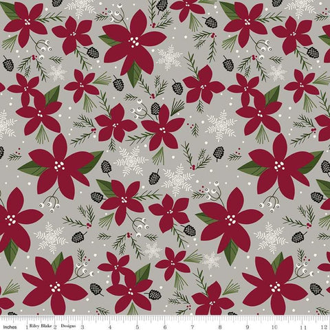 SALE Winterberry Main Gray - Riley Blake Designs - Poinsettias Pinecones  Snowflakes Christmas - Quilting Cotton Fabric