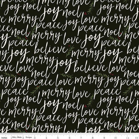 SALE Winterberry Text Black - Riley Blake Designs - Christmas Cream Words Script Pine Needles  - Quilting Cotton Fabric