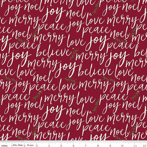 Winterberry Text Red - Riley Blake Designs - Christmas Cream Words Script Pine Needles  - Quilting Cotton Fabric