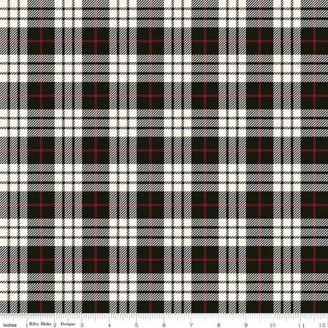 Winterberry Plaid Black - Riley Blake Designs - Christmas Black Red Cream Plaid  - Quilting Cotton Fabric