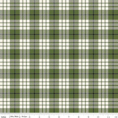 Winterberry Plaid Green - Riley Blake Designs - Christmas Green Black Cream Plaid  - Quilting Cotton Fabric