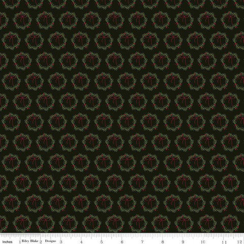 SALE Winterberry Wreaths Black - Riley Blake Designs - Christmas Green Red Wreaths  - Quilting Cotton Fabric