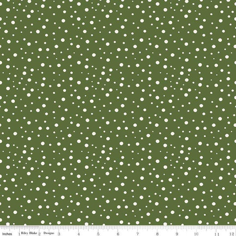 Winterberry Flurries Green - Riley Blake Designs - Christmas Cream on Green Dots - Quilting Cotton Fabric