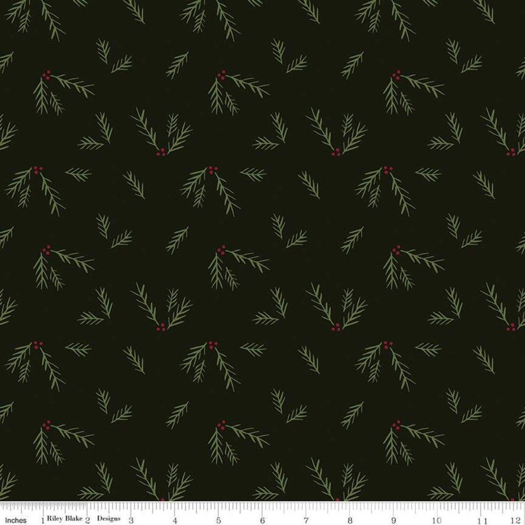 Winterberry Sprigs Black - Riley Blake Designs - Christmas Red Green Pine Sprigs - Quilting Cotton Fabric