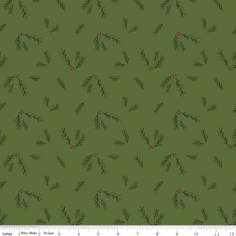 SALE Winterberry Sprigs Green - Riley Blake Designs - Christmas Red Green Pine Sprigs - Quilting Cotton Fabric