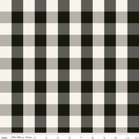 SALE Winterberry Check Black - Riley Blake Designs - Christmas Black Gray Cream Checkered Checks - Quilting Cotton Fabric