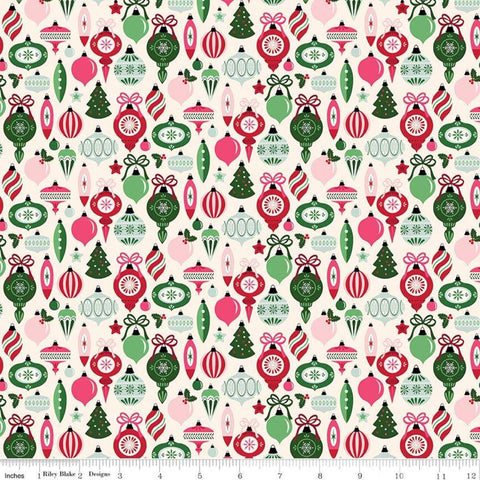 Merry and Bright Ornaments Cream - Riley Blake Designs - Christmas - Vintage Ornaments  - Quilting Cotton Fabric - choose your cut