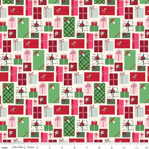 Merry and Bright Presents Cream - Riley Blake Designs - Christmas Pink Red Green Gifts  - Quilting Cotton Fabric - choose your cut