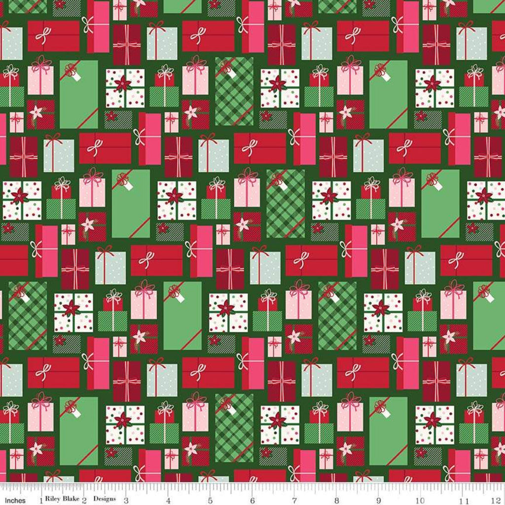 Merry and Bright Presents Green - Riley Blake Designs - Christmas Pink Red Green Gifts  - Quilting Cotton Fabric
