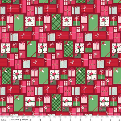 Merry and Bright Presents Red - Riley Blake Designs - Christmas Pink Red Green Gifts  - Quilting Cotton Fabric