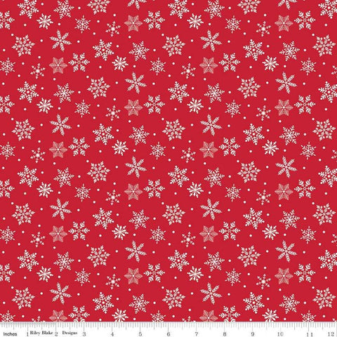Merry and Bright Snowflakes Red - Riley Blake Designs - Christmas Scattered Cream Flakes  - Quilting Cotton Fabric - choose your cut