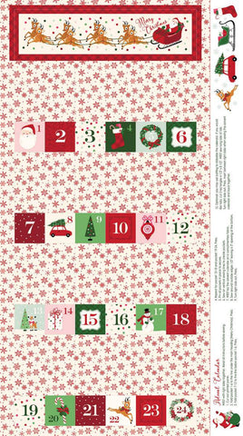 "SALE Merry and Bright Advent Panel Cream by Riley Blake Designs - 24"" x 43"" Christmas Holiday Advent Calendar- Quilting Cotton Fabric"