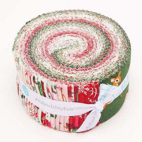 SALE Merry and Bright 2.5-Inch Rolie Polie Jelly Roll 40 pieces Riley Blake Designs - Precut Bundle - Christmas - Quilting Cotton Fabric