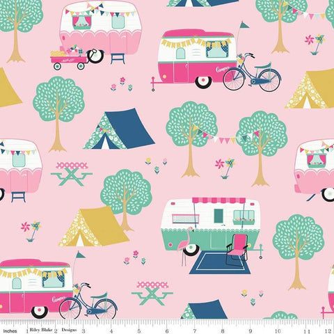 I'd Rather Be Glamping Main Pink - Riley Blake Designs - Camping Trailers Bicycles Tents - Quilting Cotton Fabric