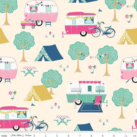 I'd Rather Be Glamping Main Cream - Riley Blake Designs - Camping Trailers Bicycles Tents - Quilting Cotton Fabric